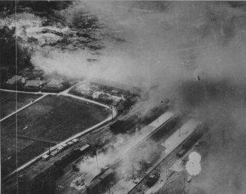 Photograph of Sendai during bombing raid