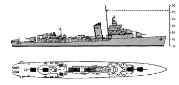 Schematic diagram of Sims class destroyer