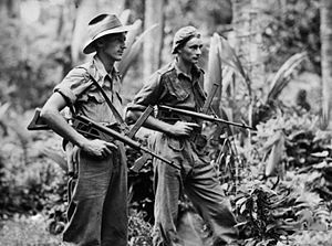 Photograph of soldiers armed with Owen submachine guns