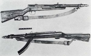 Photograph of Type 100 submachine guns