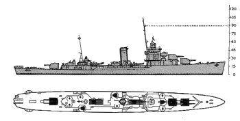 Schematic diagram of Somers class destroyer