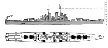 Schematic diagram of St. Louis class light cruiser