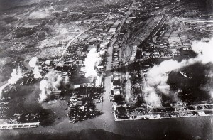 Photograph of Surabaya under air attack in May 1944