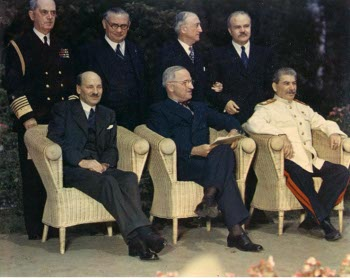 Photograph of Atlee, Truman, and Stalin at Potsdam