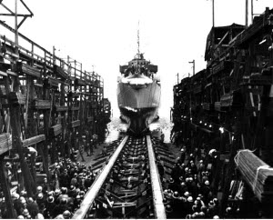 Photograph of ship being launched at Tacoma