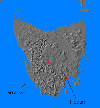 Relief map of Tasmania