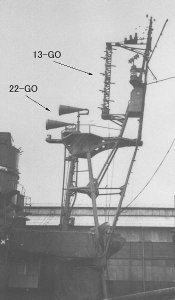 Photograph of Type 13 and Type 22 radars on destroyer