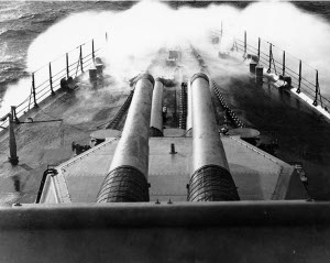 "Photograph of 16""/45 Mark 1 gun turrets of USS Colorado"