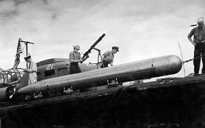 Photograph of Mark 8 torpedo on PT boat