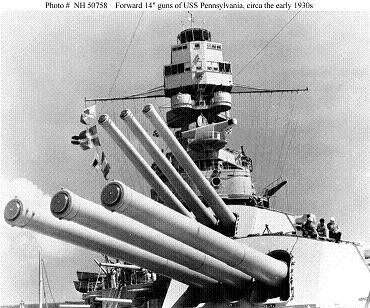 "Photograph of 14""/45 guns on USS Pennsylvania"
