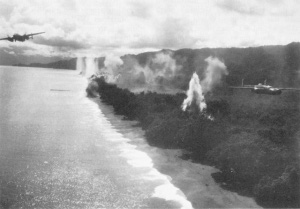 Photograph of air raid on Wewak