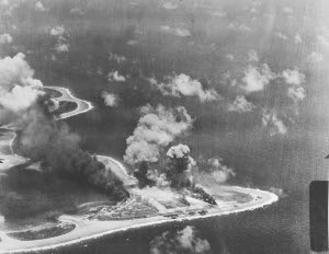 Photograph of Woleai under attack