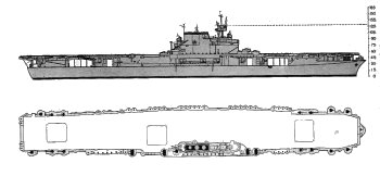 Schematic diagram of Yorktown class fleet carrier